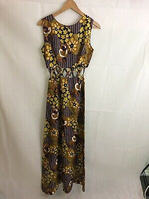Vintage ladies boho 197-'s long cut out maxi dress size 6-8 retro dress party