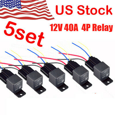 5pack dc 12v car spst automotive relay 4 pin 4 wires w/harness socket 30