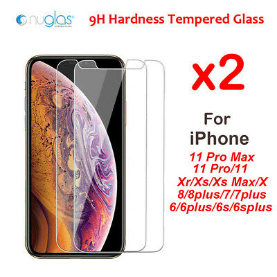 2x Nuglas for Apple iPhone XR X XS Max Tempered Glass iPhone Screen Protector