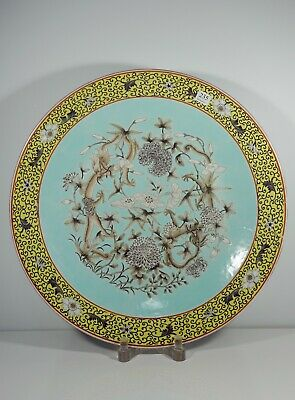 A Large Chinese Turquoise Ground 'Empress Dowager' style dish