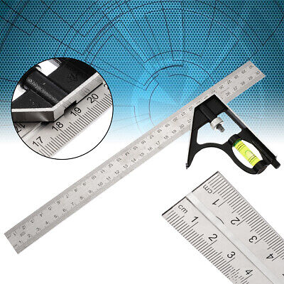 "300mm 12"" Adjustable Engineers Combination Try Square Set Right Angle Ruler Kit"