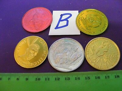 Lot of  5 Genuine New Orleans Mardi Gras Doubloons,years 1968..1969...76..77(B)