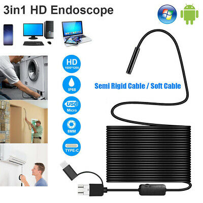 3in1 1200P HD Borescope IP68 Waterproof USB Endoscope Inspection Camera 8 LED~