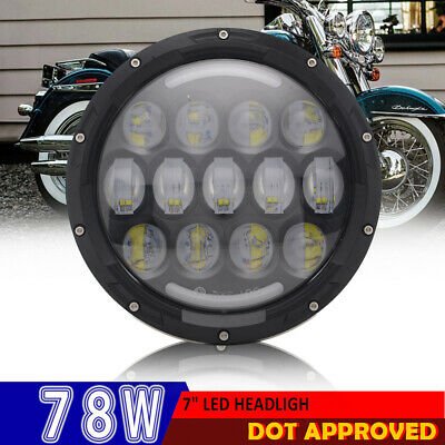 """7"""" Motorcycle 78W 6000K BL LED Headlight High Low Beam W/ Turn Signal for Harley"""