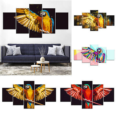 Parrot Bird Modern Canvas Print Painting Framed Home Decor Wall Art Poster 5Pcs