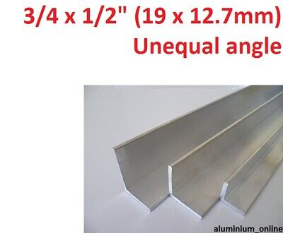 ALUMINIUM UNEQUAL ANGLE 3/4 x 1/2 (19mm x 12.7mm) 2 thickness, 100 to 2500mm