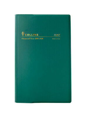 2019-2020 Financial Year Diary Collins B7R Week to View Green Vinyl 35M7