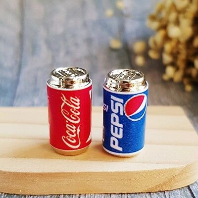 Dollhouse Miniature Pepsi Coca Cola Coke Canned Mini Soda Beverage Food Drink