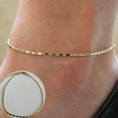 Simple Gold Chain Anklet Ankle Bracelet Barefoot Sandal Beach Foot Jewelry S6 WL