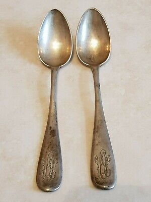A pair of Antique Russian A. N. Grachiov Sterling Silver Spoons, 1892
