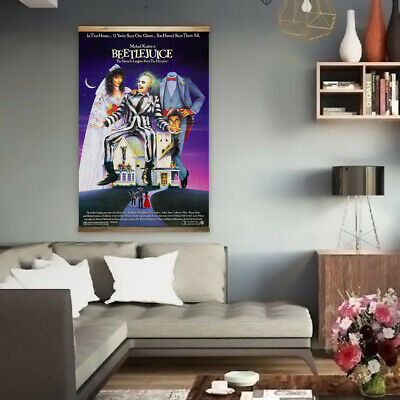 Huge 90cm x 140cm Beetlejuice Heavyweight Canvas Movie Poster Print Horror Film