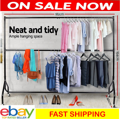 Mobile Clothes Rail Portable Hanging Garment Rack w/ Wheel Heavy Duty Bar Stand