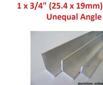"""ALUMINIUM UNEQUAL ANGLE 1"""" x 3/4 (25.4mm x 19mm) 2 thickness 100mm to 2500mm"""