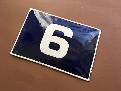 ANTIQUE VINTAGE EUROPEAN ENAMEL SIGN HOUSE NUMBER 6 or 9 DOOR GATE SIGN 1950's