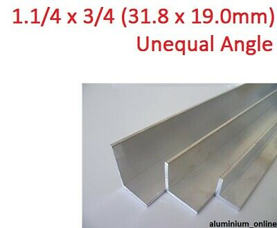 ALUMINIUM UNEQUAL ANGLE 1.1/4 x 3/4, 1 thickness, lengths 100mm to 2.500mm
