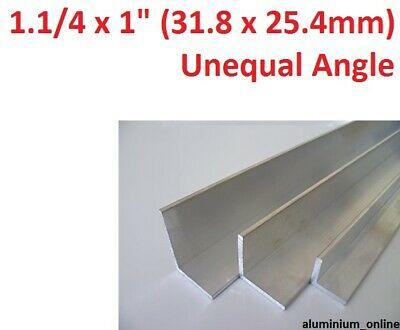 """ALUMINIUM UNEQUAL ANGLE 1.1/4"""" x 1"""" (31.8mm x 25.4mm)  lengths 100mm to 2500mm"""