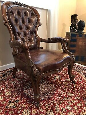 Early Victorian Quality Antique Leather Library Arm Chair