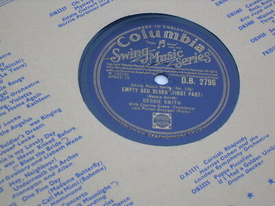 "Bessie Smith 10"" 78 Rpm Record ""empty Bed Blues Pt1/2"" Uk Columbia Swing Series."