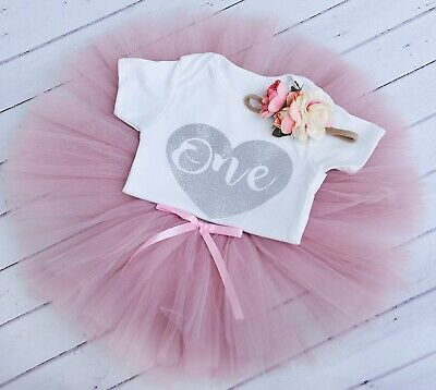 1st First Birthday Girl Outfit Tutu Skirt Cake Smash Dusty Pink