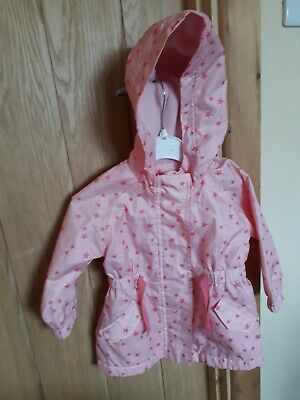 baby girls pink with dark pink stars waterproof hooded jacket size 9-12 months