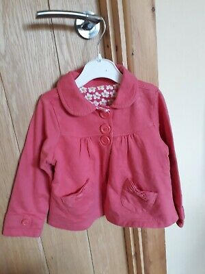 baby girls pink button front collared spring/ summer jacket 12-18 months