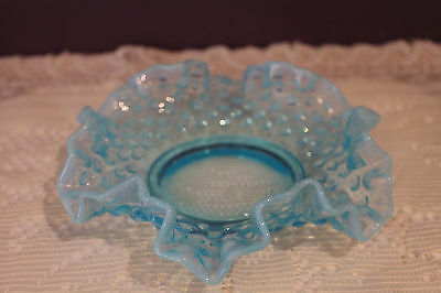 Fenton Blue Opalescent Hobnail Art Glass Crimped Ruffled Candy Dish