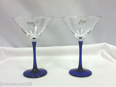 Skyy vodka stemmed footed martini glasses 2 logo bar cocktai drinkl glass IT1