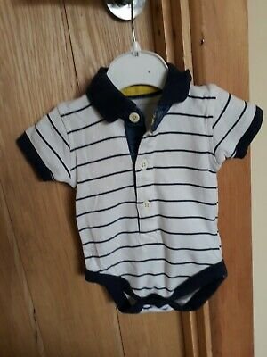 baby boys white and navy blue striped collared vest size 0-3 months