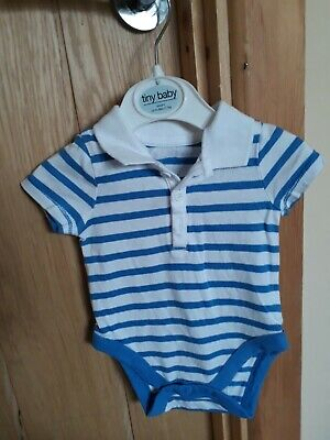 baby boys white with blue stripes short sleeved collared vest top size newborn
