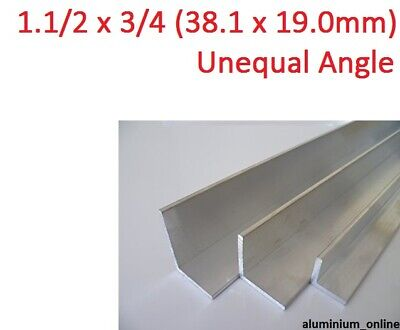 ALUMINIUM UNEQUAL ANGLE 1.1/2 x 3/4, 1 thickness, lengths 100mm to 2.500mm