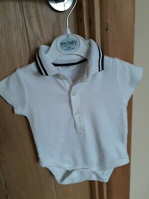 baby boys white with navy blue striped collar vest top up to 1 month