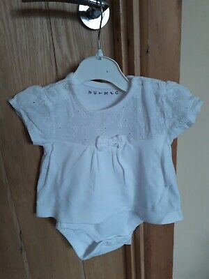 baby girls white/embroidered flowers short sleeved top & integrated vest 3-6 mth