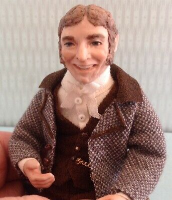 1:12 scale Porcelain Dollhouse Miniature Man Doll, Formal Grandfather, OOAK.