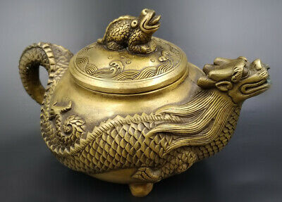 Hand Bronze Ware Dragon Statue Art Furnishings Carving Collect Chinese Teapot