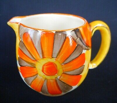 Art Deco Gray's Pottery Small Jug Hand Decorated With Colourful Flowers C.1936