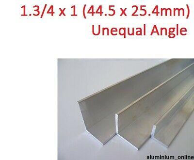 ALUMINIUM UNEQUAL ANGLE 1.3/4 x 1, 1 thickness, lengths 100mm to 2.500mm