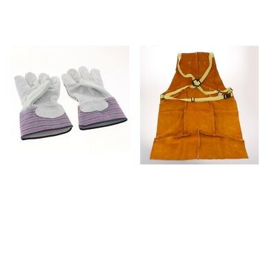 1 PCS Cowhide Leather Protective Apron + One Pair Welding Working Gloves
