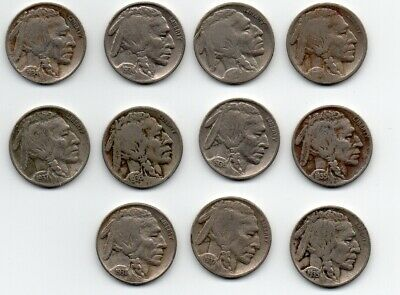 Vintage 1915-1938 P D BUFFALO NICKELS, Lot of 11 Different Coins, (Lot 1)