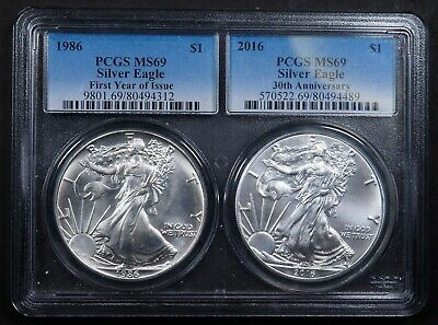 1986 & 2016 1st Year- 30th Anniversary Silver Eagle Coins PCGS MS69 / MS69