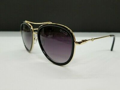 d76822f26a5 Gucci GG 0062S 011 Black Gold Aviator Sunglasses Grey Gradient Polarized  Lens