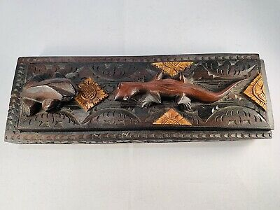 Vintage Asian Wood Hand Carved Frog Lizard Chopsticks Case Box w/ 8 Sticks