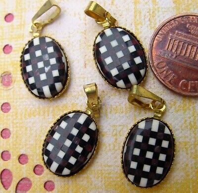 Vintage 9 x 12mm Oval Lucite Grid Cab Charms Pendants w Bail 4