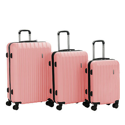 """3PCS Luggage Set Travel Bag Trolley Spinner Carry On Suitcase 20"""" 24"""" 28"""" Pink"""