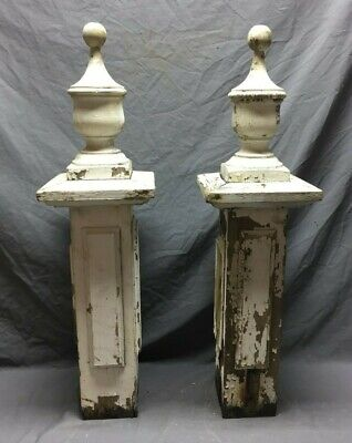 "Pair Antique Post Finials Shabby Vintage Old Chic 34"" 50-19M"