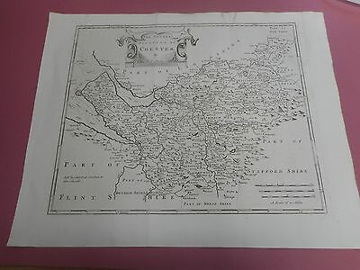 100% Original Large Cheshire  Map By Robert Morden C1772 Low Post