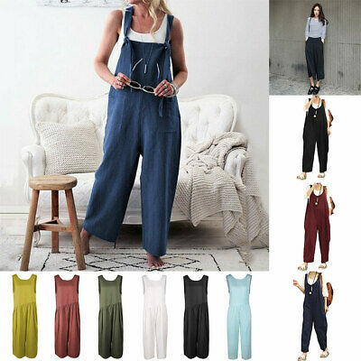 Dungarees Strap Overalls Harem Trouser Women Baggy Casual Rompers Jumpsuit New #