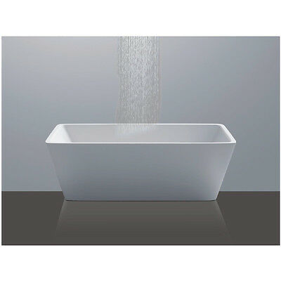 Bathroom Free Standing Bath Tub Acrylic 1500 x 750 x 580 Square White Plug Waste