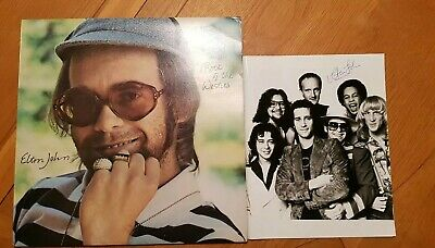 Elton John personally signed photo with Rock of the Westies Album from 1970s, EJ