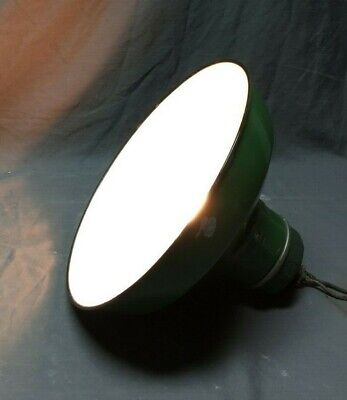 "Antique Wheeler Green Industrial Porcelain Pan Shade Light Fixture 12"" 262-19C"