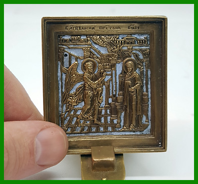 Russian Orthodox bronze  icon The Annunciation. Enameled!